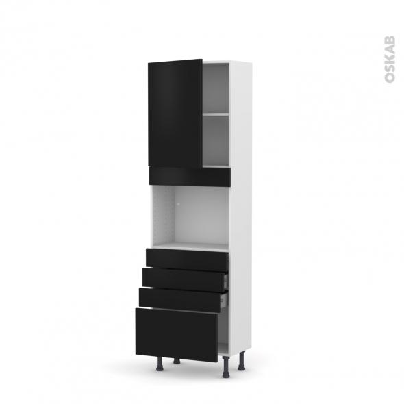 GINKO Noir - Colonne Four niche 45 N°2159  - Prof.37  1 porte 4 tiroirs - L60xH195xP37