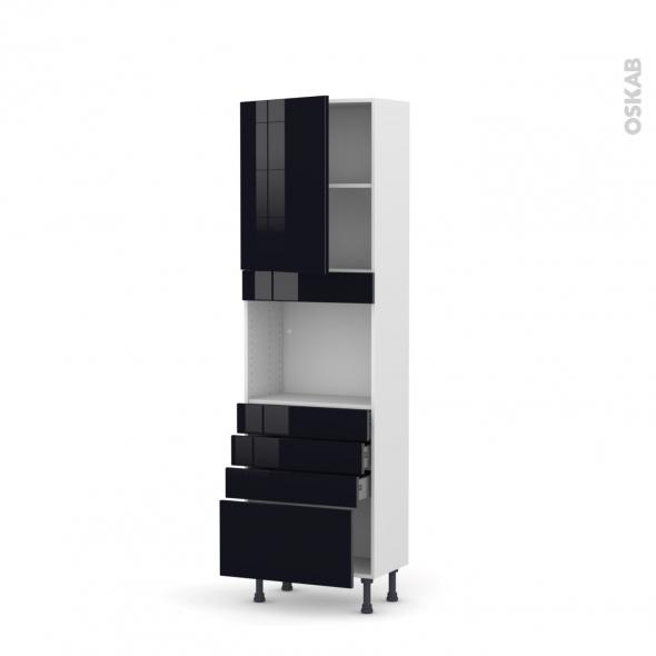 KERIA Noir - Colonne Four niche 45 N°2159  - Prof.37  1 porte 4 tiroirs - L60xH195xP37