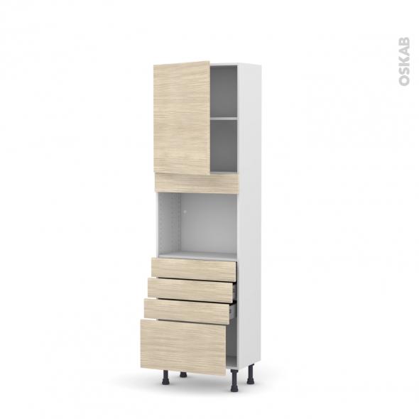 Colonne de cuisine N°2159 - Four encastrable niche 45  - STILO Noyer Blanchi - 1 porte 4 tiroirs - L60 x H195 x P37 cm