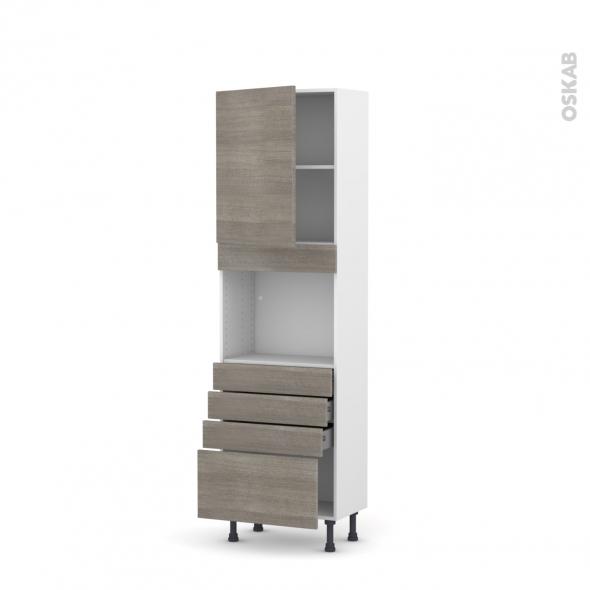 Colonne de cuisine N°2159 - Four encastrable niche 45  - STILO Noyer Naturel - 1 porte 4 tiroirs - L60 x H195 x P37 cm