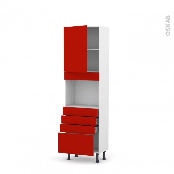 GINKO Rouge - Colonne Four niche 45 N°2159  - Prof.37  1 porte 4 tiroirs - L60xH195xP37