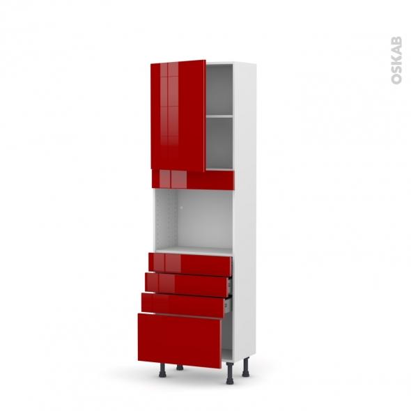 Colonne de cuisine N°2159 - Four encastrable niche 45  - STECIA Rouge - 1 porte 4 tiroirs - L60 x H195 x P37 cm