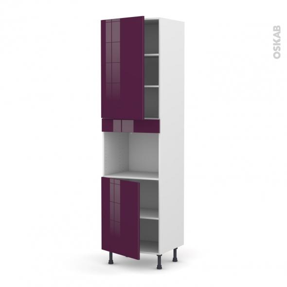 KERIA Aubergine - Colonne Four niche 45 N°2421  - 2 portes - L60xH217xP58