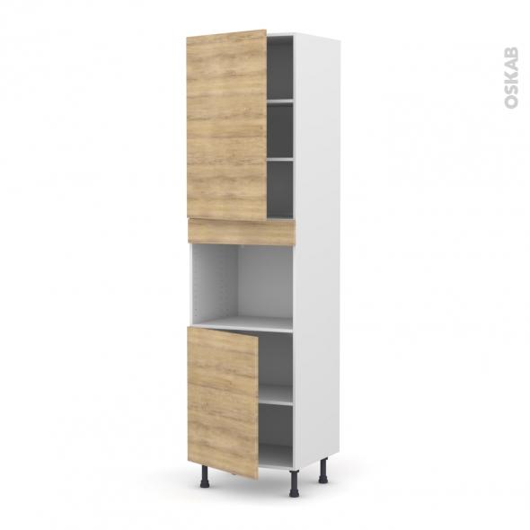 Colonne de cuisine N°2421 - Four encastrable niche 45  - HOSTA Chêne naturel - 2 portes - L60 x H217 x P58 cm