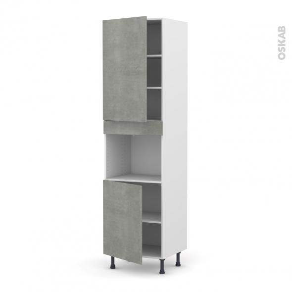 Colonne de cuisine N°2421 - Four encastrable niche 45  - FAKTO Béton - 2 portes - L60 x H217 x P58 cm