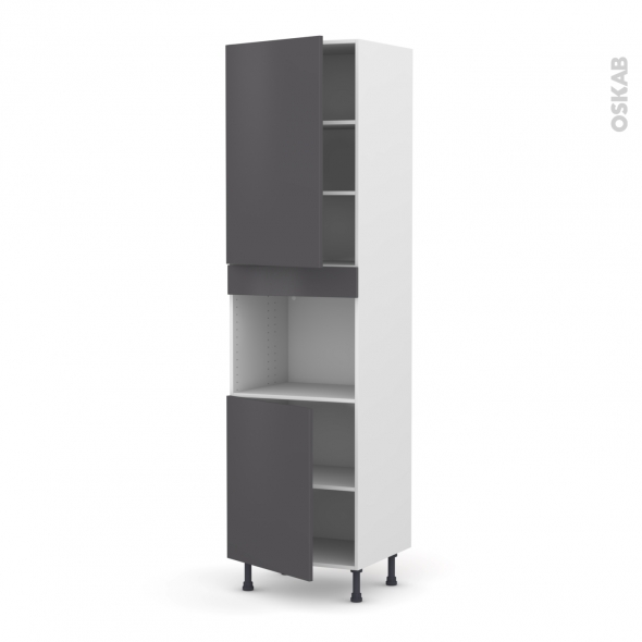 Colonne de cuisine N°2421 - Four encastrable niche 45  - GINKO Gris - 2 portes - L60 x H217 x P58 cm
