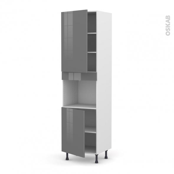 Colonne de cuisine N°2421 - Four encastrable niche 45  - STECIA Gris - 2 portes - L60 x H217 x P58 cm