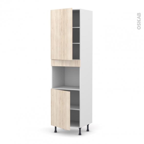 Colonne de cuisine N°2421 - Four encastrable niche 45  - IKORO Chêne clair - 2 portes - L60 x H217 x P58 cm