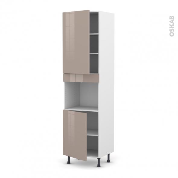Colonne de cuisine N°2421 - Four encastrable niche 45  - KERIA Moka - 2 portes - L60 x H217 x P58 cm
