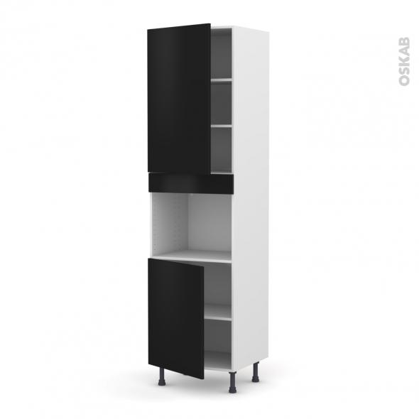 GINKO Noir - Colonne Four niche 45 N°2421  - 2 portes - L60xH217xP58