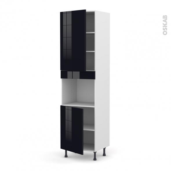 KERIA Noir - Colonne Four niche 45 N°2421  - 2 portes - L60xH217xP58