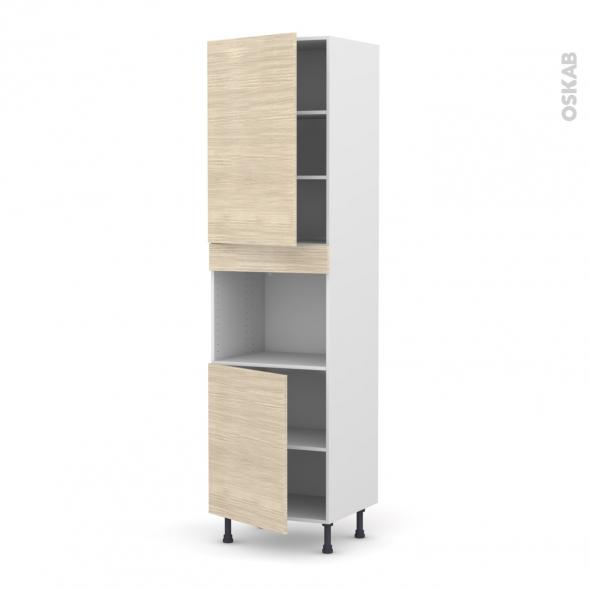 STILO Noyer Blanchi - Colonne Four niche 45 N°2421  - 2 portes - L60xH217xP58
