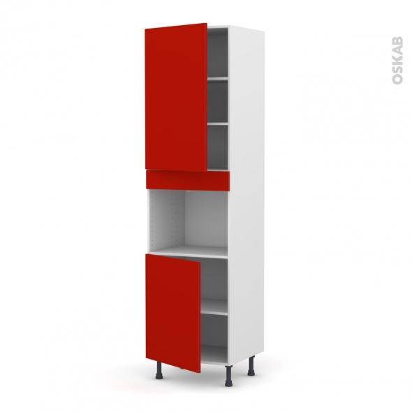 GINKO Rouge - Colonne Four niche 45 N°2421  - 2 portes - L60xH217xP58