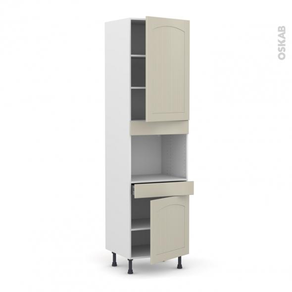SILEN Argile - Colonne Four niche 45 N°2456  - 2 portes 1 tiroir - L60xH217xP58 - droite