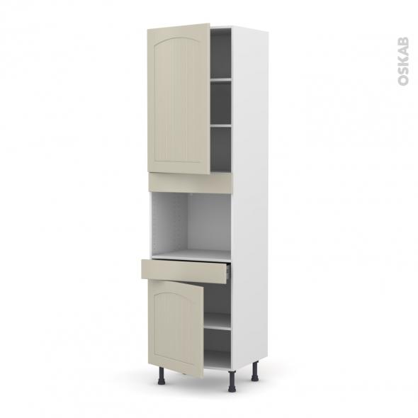 SILEN Argile - Colonne Four niche 45 N°2456  - 2 portes 1 tiroir - L60xH217xP58 - gauche