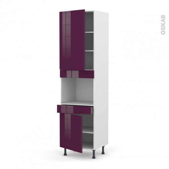 KERIA Aubergine - Colonne Four niche 45 N°2456  - 2 portes 1 tiroir - L60xH217xP58