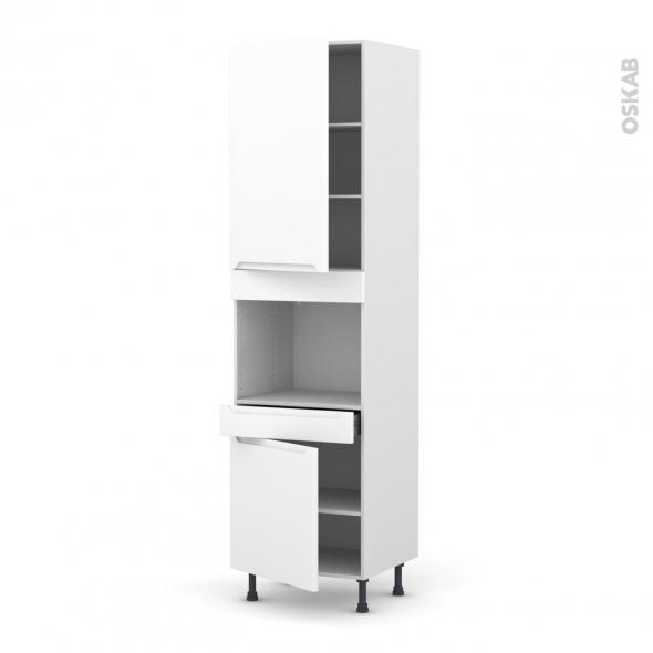 Colonne de cuisine N°2456 - Four encastrable niche 45  - PIMA Blanc - 2 portes 1 tiroir - L60 x H217 x P58 cm