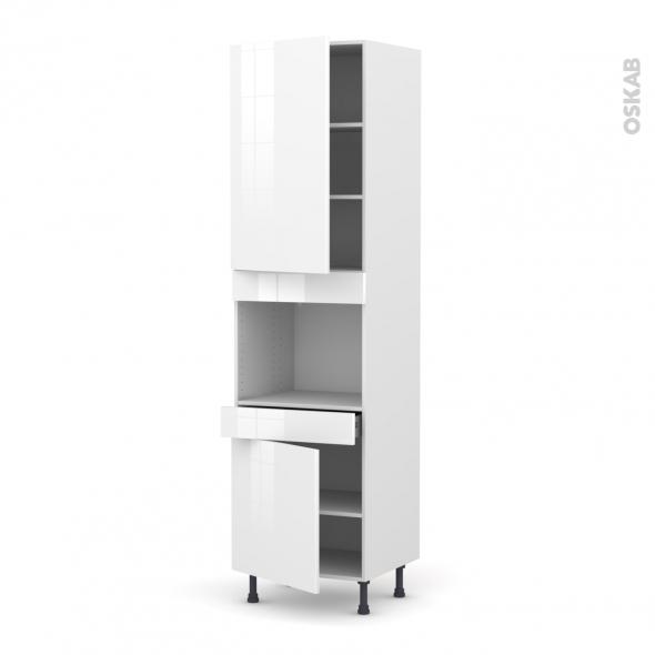 Colonne de cuisine N°2456 - Four encastrable niche 45  - STECIA Blanc - 2 portes 1 tiroir - L60 x H217 x P58 cm