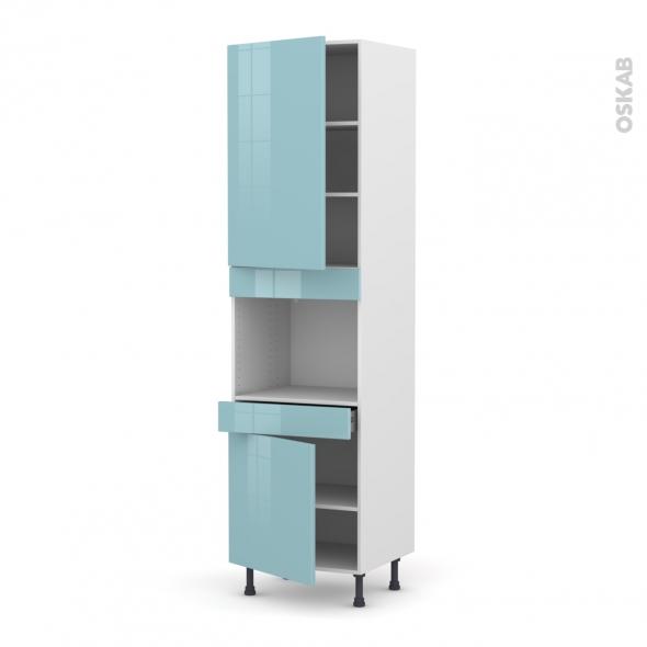 Colonne de cuisine N°2456 - Four encastrable niche 45  - KERIA Bleu - 2 portes 1 tiroir - L60 x H217 x P58 cm