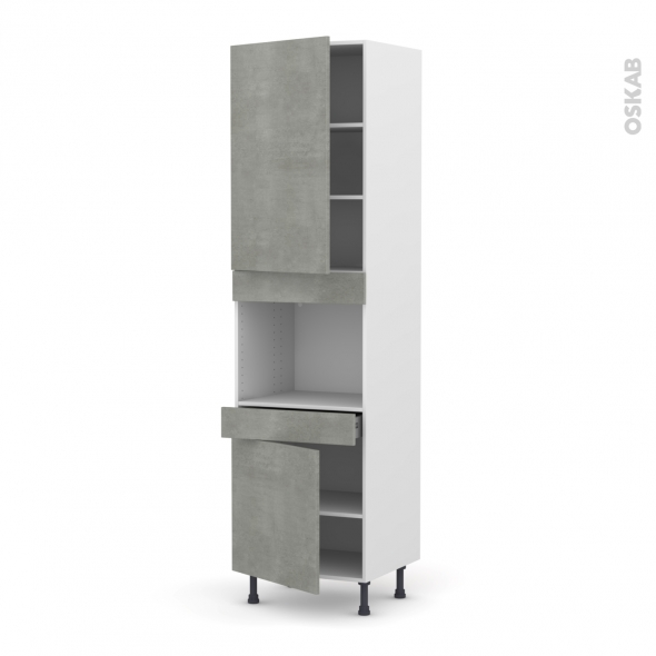 Colonne de cuisine N°2456 - Four encastrable niche 45  - FAKTO Béton - 2 portes 1 tiroir - L60 x H217 x P58 cm