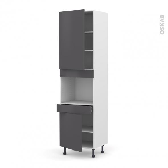 Colonne de cuisine N°2456 - Four encastrable niche 45  - GINKO Gris - 2 portes 1 tiroir - L60 x H217 x P58 cm