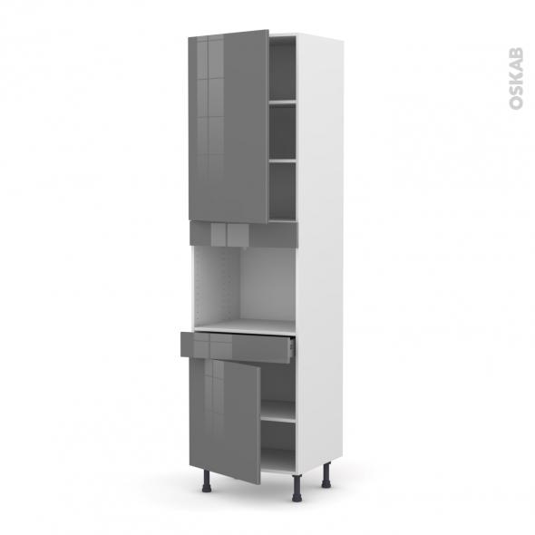 Colonne de cuisine N°2456 - Four encastrable niche 45  - STECIA Gris - 2 portes 1 tiroir - L60 x H217 x P58 cm