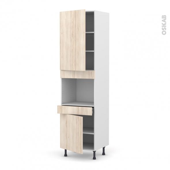 IKORO Chêne clair - Colonne Four niche 45 N°2456  - 2 portes 1 tiroir - L60xH217xP58