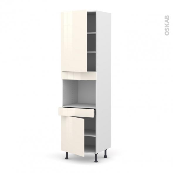 Colonne de cuisine N°2456 - Four encastrable niche 45  - KERIA Ivoire - 2 portes 1 tiroir - L60 x H217 x P58 cm
