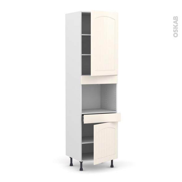 SILEN Ivoire - Colonne Four niche 45 N°2456  - 2 portes 1 tiroir - L60xH217xP58 - droite