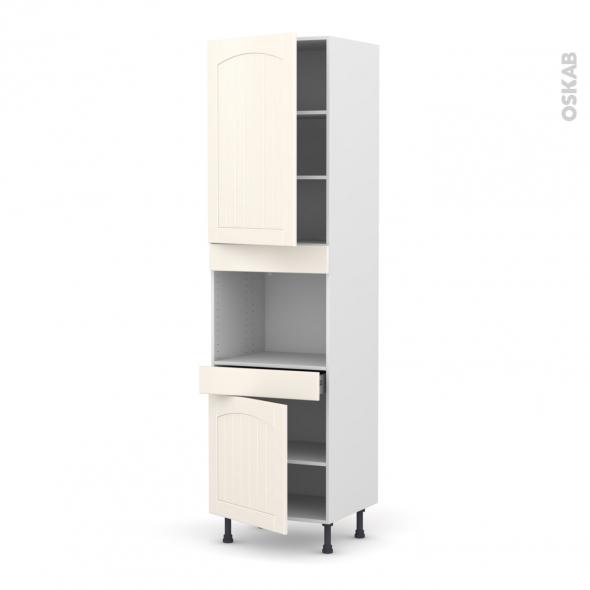 SILEN Ivoire - Colonne Four niche 45 N°2456  - 2 portes 1 tiroir - L60xH217xP58 - gauche