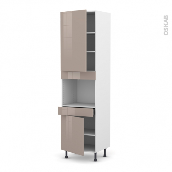 Colonne de cuisine N°2456 - Four encastrable niche 45  - KERIA Moka - 2 portes 1 tiroir - L60 x H217 x P58 cm