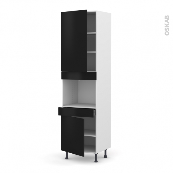 Colonne de cuisine N°2456 - Four encastrable niche 45  - GINKO Noir - 2 portes 1 tiroir - L60 x H217 x P58 cm