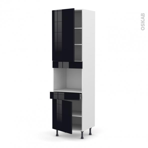 Colonne de cuisine N°2456 - Four encastrable niche 45  - KERIA Noir - 2 portes 1 tiroir - L60 x H217 x P58 cm