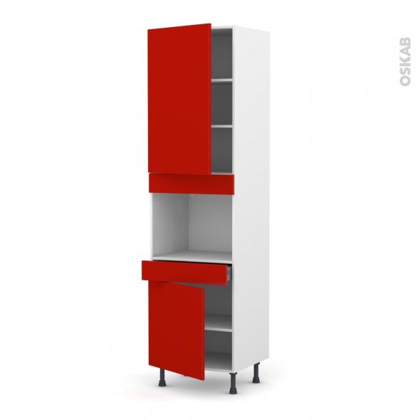 GINKO Rouge - Colonne Four niche 45 N°2456  - 2 portes 1 tiroir - L60xH217xP58