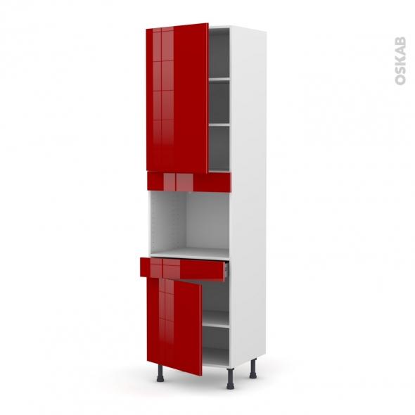 Colonne de cuisine N°2456 - Four encastrable niche 45 - STECIA Rouge - 2 portes 1 tiroir - L60 x H217 x P58 cm