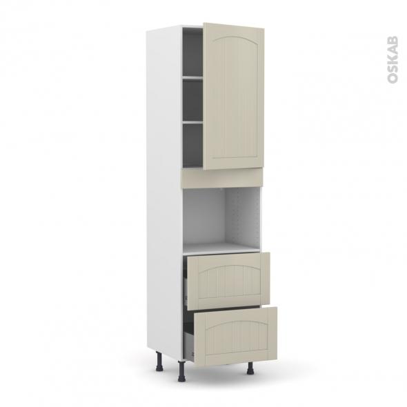 SILEN Argile - Colonne Four niche 45 N°2457  - 1 porte 2 casseroliers - L60xH217xP58 - droite
