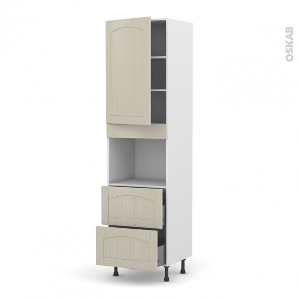 SILEN Argile - Colonne Four niche 45 N°2457  - 1 porte 2 casseroliers - L60xH217xP58 - gauche