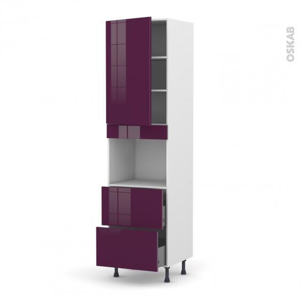 KERIA Aubergine - Colonne Four niche 45 N°2457  - 1 porte 2 casseroliers - L60xH217xP58