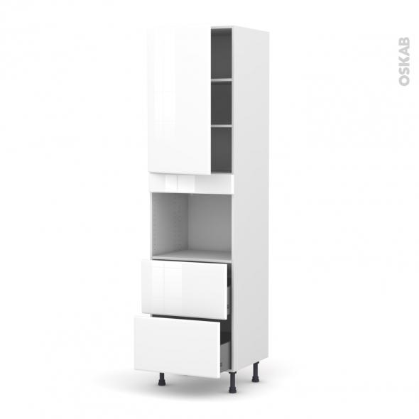 Colonne de cuisine N°2457 - Four encastrable niche 45  - IRIS Blanc - 1 porte 2 casseroliers - L60 x H217 x P58 cm