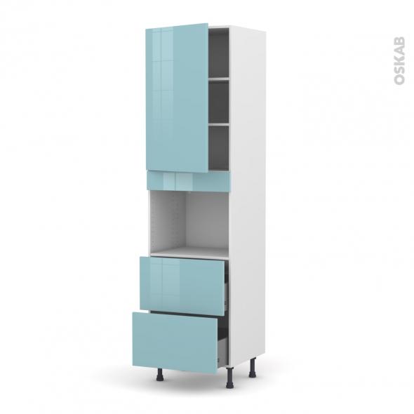 KERIA Bleu - Colonne Four niche 45 N°2457  - 1 porte 2 casseroliers - L60xH217xP58