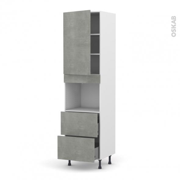 Colonne de cuisine N°2457 - Four encastrable niche 45  - FAKTO Béton - 1 porte 2 casseroliers - L60 x H217 x P58 cm