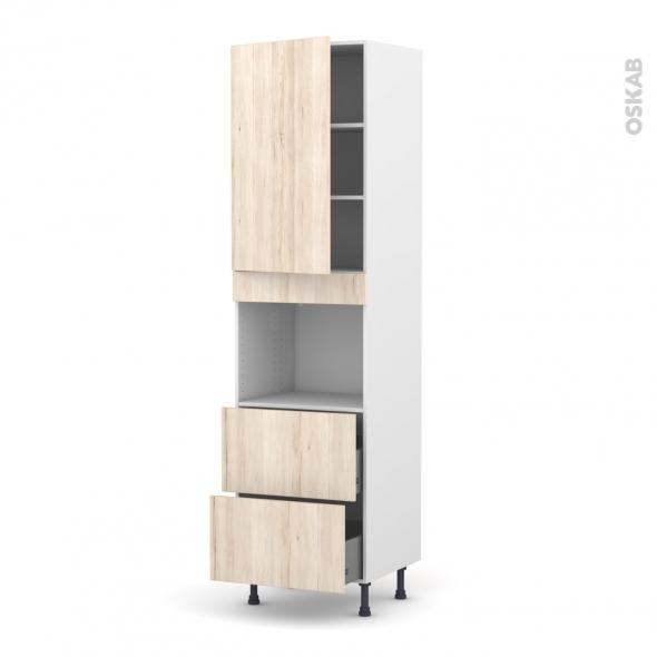 Colonne de cuisine N°2457 - Four encastrable niche 45  - IKORO Chêne clair - 1 porte 2 casseroliers - L60 x H217 x P58 cm