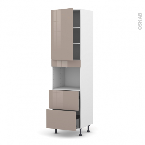 Colonne de cuisine N°2457 - Four encastrable niche 45  - KERIA Moka - 1 porte 2 casseroliers - L60 x H217 x P58 cm