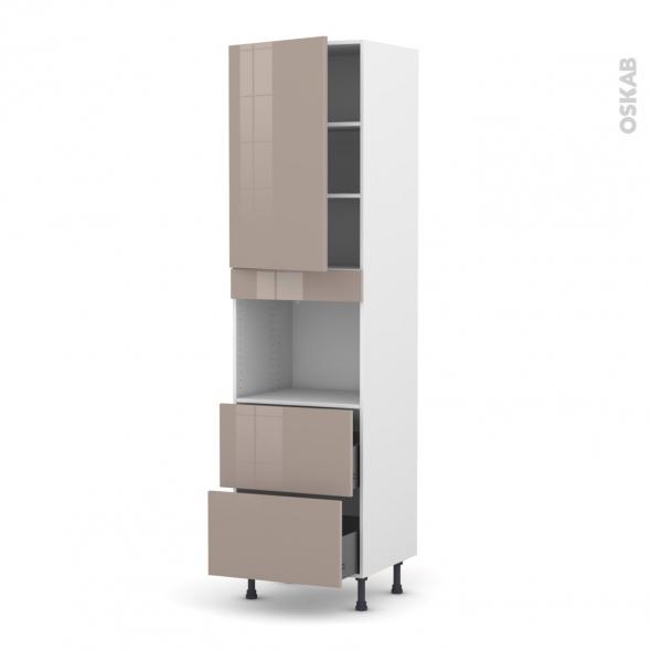 KERIA Moka - Colonne Four niche 45 N°2457  - 1 porte 2 casseroliers - L60xH217xP58