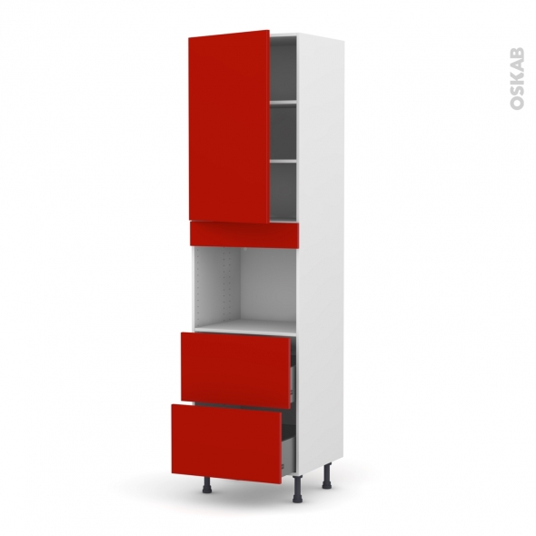 GINKO Rouge - Colonne Four niche 45 N°2457  - 1 porte 2 casseroliers - L60xH217xP58