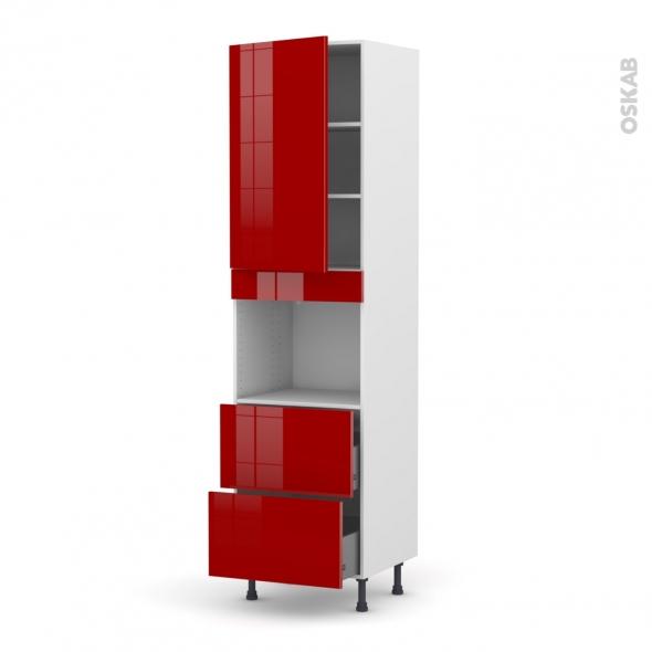 Colonne de cuisine N°2457 - Four encastrable niche 45 - STECIA Rouge - 1 porte 2 casseroliers - L60 x H217 x P58 cm