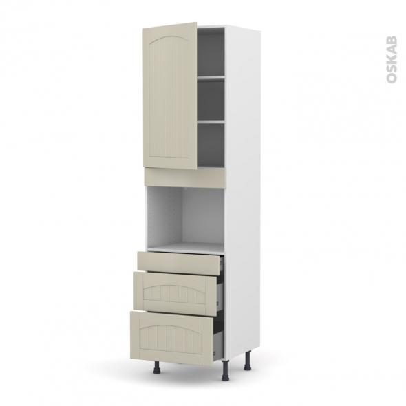 SILEN Argile - Colonne Four niche 45 N°2458  - 1 porte 3 tiroirs - L60xH217xP58 - gauche