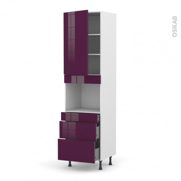 Colonne de cuisine N°2458 - Four encastrable niche 45 - KERIA Aubergine - 1 porte 3 tiroirs - L60 x H217 x P58 cm