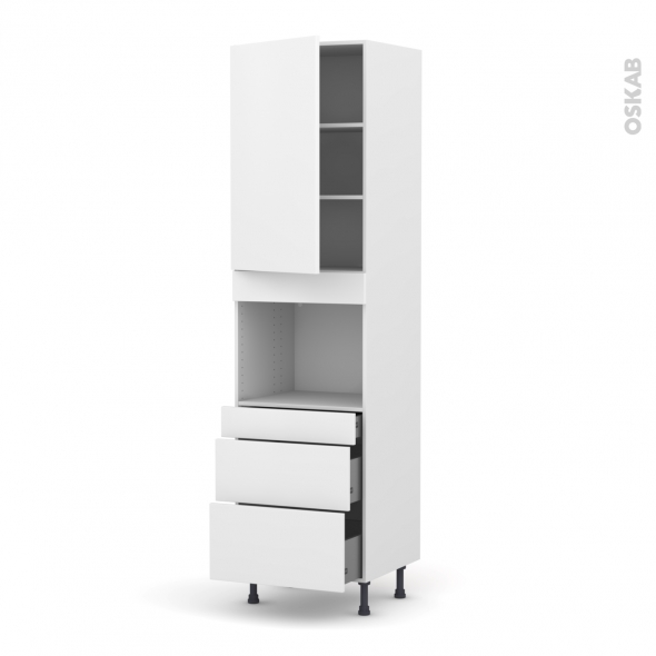 GINKO Blanc - Colonne Four niche 45 N°2458  - 1 porte 3 tiroirs - L60xH217xP58