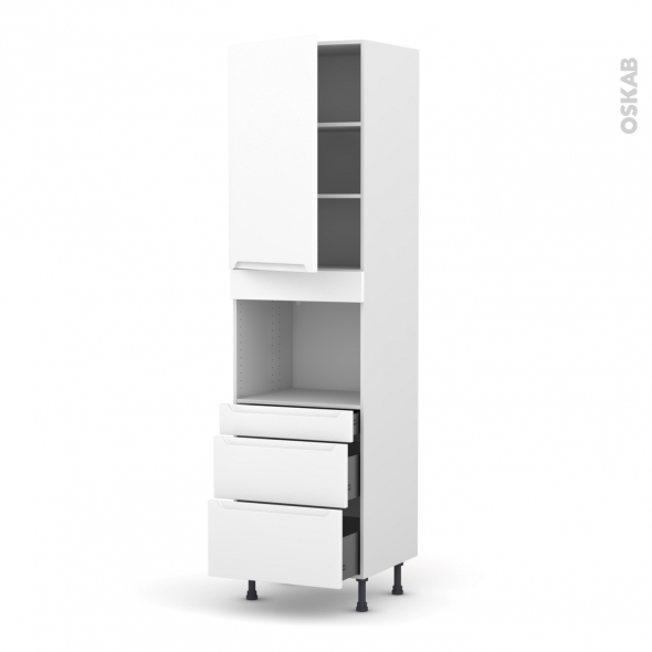 Colonne de cuisine N°2458 - Four encastrable niche 45  - PIMA Blanc - 1 porte 3 tiroirs - L60 x H217 x P58 cm
